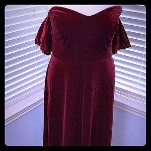 Eliquii red wine velvet off the shoulder dress NWT